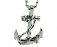 Mens Stainless Steel Pirate Ship Sea Anchor Pendant Bead Chain Necklace Charm