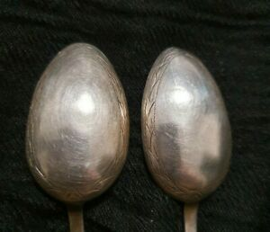 Antique Russian Harbin Solid Silver 84 - 2 engraved spoons, approx 40+ gm