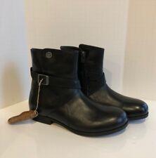 NEW BIRKENSTOCK Collins Boot Women's 38 (7.5-8) Leather Black Side Zip Split Top