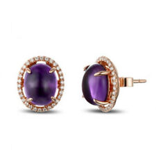 Natural Diamond Oval Cabochon Purple Amethyst Earrings Stud Solid 14K Rose Gold