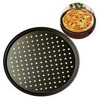 1Pc Carbon Steel Non-stick Pizza Baking Pan Mesh Tray Plate Bakeware Baking Tool
