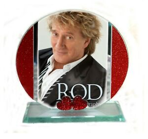Rod Stewart, Sailing, Cut Glass Round Plaque, Red Heart Diamante Ltd Edition  #1