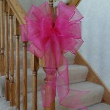 "10"" WIDE SHEER PINK WIRED EDGE BOW~FOR SPRING CRAFTS~WREATHS~PARTY DECORATIONS"