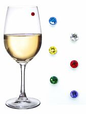 Swarovski Crystal Magnetic Wine Charms Set of 12 Jewel Tones and Pastels