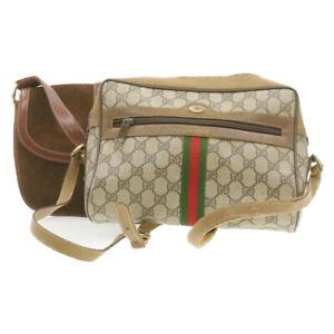 GUCCI Web Sherry Line GG Canvas Shoulder Bag 2Set PVC Leather Suede Auth rd1405