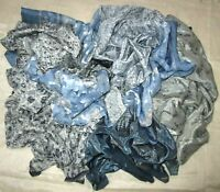 LOT ART SILK Antique Vintage Sari REMNANT Fabrics 100 GRAMS GREY CRAFT DOLL BUY