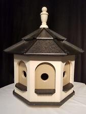 Handcrafted Poly Gazebo Birdhouse Homemade Handmade Ivory & Black