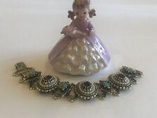 Vintage Chunky Victorian Revival Chain Rhinestone Pearl Purple Green Bracelet
