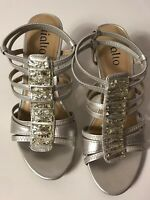 Rialto Womens Strappy Silver Sandals Rhinestones Slim Medium Heels Size 6M