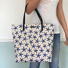 NEW! KATE SPADE Sea Starfish Bon Shopper Tote Shoulder Bag Purse Cream / Blue