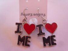 """Ohrring mit rotem Herz und schwarzen Buchstaben """" I LOVE ME """" aus Email 3462"""