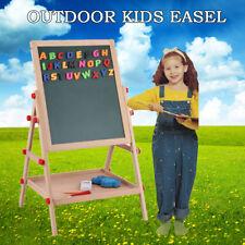 2 in 1 Kid Easel Wooden Blackboard Whiteboard Child Drawing Art Chalk Board Gift