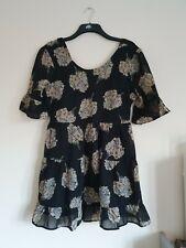 Atmosphere size 16 black floral backless pattern dress