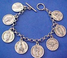 "Custom Religious Saint Medal Charm Bracelet Lot PRAYERS Stainless Steel 7.5"" B3"