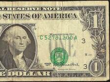 1977 $1 DOLLAR BILL MISALIGNED OVERPRINT ERROR NOTE CURRENCY PAPER MONEY
