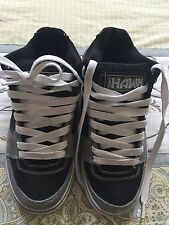 Men's gray black Leather Tony Hawk Lace Up Skateboard Shoes