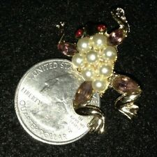 Collectible Frog brooch pin with pearl color and brown color stones,new-J3