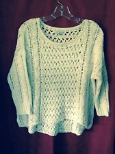 American Eagle Outfitters, Cream/Ivory Open Weave 3/4 Sleeve Knit Top, Women's S