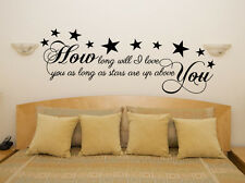 How Long Will I Love You - Stars Lyrics Music Bedroom Decal Wall Sticker Picture