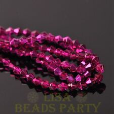 New Arrival  200pcs 4mm Faceted Bicone Loose Spacer Glass Beads Rose Red