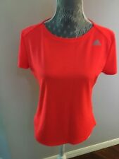 ADIDAS Climalite Women Size M Red  Logo  T Shirt Crew Neck Top