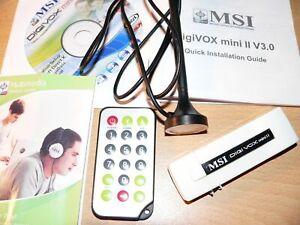 TV USB STICK für PC oder LAP TOP MSI DIGI MINI DIGIVOX Antenne Fernbedienung