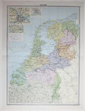 1920 LARGE MAP HOLLAND AMSTERDAM ROTERDAM FRIESLAND NORTH BRABANT ANTWERP
