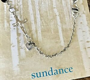NEW $148 Sundance JES MAHARRY Heart Sterling Silver Cross Pearl Link Bracelet