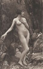 Rare original old French real photo postcard Art Deco nude study 1920s RPPC #24