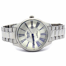 Mens Stainless Steel Metal Band Silver Dial Quartz Water Resistant Wrist Watches