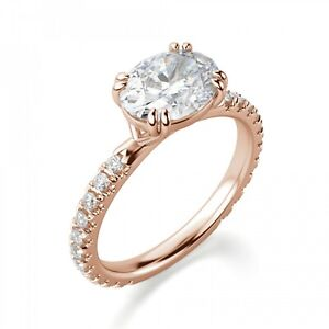 2.25 Ct Moissanite Oval Cut Rose Gold Friendship Ring 18K Solitaire Girl ring