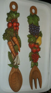 Retro Kitchen Decor Syroco Fruit & Vegetable Fork & Spoon Wall Hangings~1970's