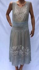 Embroidered Hungarian Dress Sz. Medium Gray/white Vintage 1920's/30's