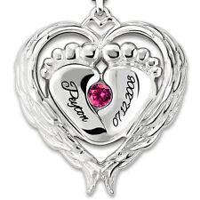 Engel Baby Flügel Kind Geschenk Geburt Namenskette Monatsstein 925 Silber Herz