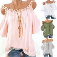 Women Cold Shoulder T Shirt Lace Neck Flare Sleeve Casual Loose Tee Tops Blouse