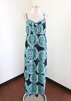 Ann Taylor Loft Navy Blue Teal Medallion Print Maxi Dress Size 4 Casual Summer