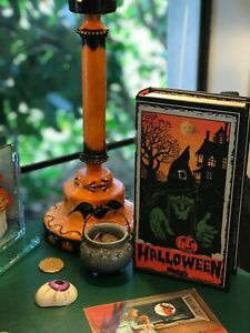 Medium Faux Book Happy Halloween Witch Vintage Retro Style Reproduction NWT