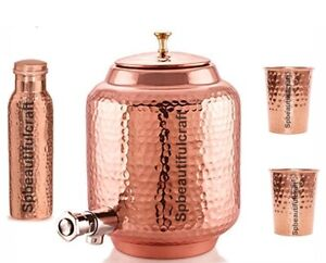 NEW Copper Water Dispenser (Matka) Hammered Container Pot With Bottle & Glass