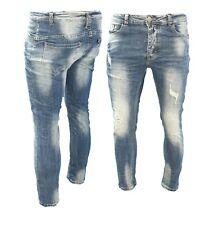 Jeans uomo pantaloni slim fit elasticizzati Skinny cotone strappato denim