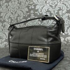 Rise-on Vintage CHANEL Caviar Skin Chocolate bar Black One Handbag  #1944