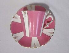 ROYAL ALBERT CROWN CHINA ART DECO CUP & SAUCER PINK WHITE GOLD RIM 1925 - 1927