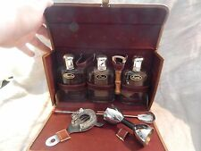 Vintage MCM Bar Set with 3 Flasks and Leather Case Rye Bourbon Scotch