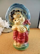 """New listing Vintage Royal Copley Nm Young Child With Hat Head Vase Pottery Planter 7 1/4"""""""