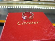 CARTIER WHITE GOLD DOUBLE C WOMENS RING 18 KARAT WHITE GOLD SIZE 7.0 PRE-OWNED