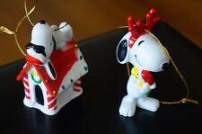 CHRISTMAS Tree Ornaments Vintage SNOOPY & WOODSTOCK Dog House HUG Antler Lot Set