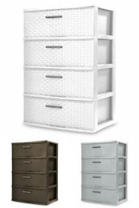 Storage & Organization Drawers, Woven Pattern Plastic, 4 Drawers, Color Choices