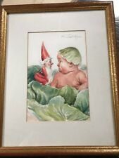 Watercolor Painting Baby And Gnome By Mary Lauritzen (UK Artist)