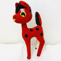 "Vintage 1950s Red Velvet Christmas Reindeer Deer Fawn Long Eyelashes Japan 8"""