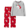 Carter's Girls' 2-Piece Fleece Unicorn Pajamas Top and Pants Set Christmas PJs