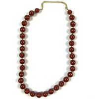Vintage Marvella Beaded Necklace Patent 537985 Amber Brown Beads Gold Tone